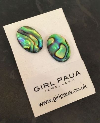Paua Stud Earrings PE04 13x18mm NATURAL OVAL (X LARGE)